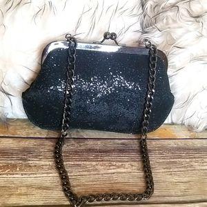 Express Black Sequin Small Dress Bag